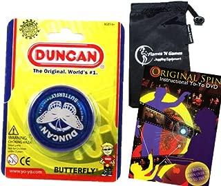 Duncan Butterfly YoYo (Blue) Beginners Entry-Level Yo Yo with Travel Bag + 75 Yo-Yo Tricks DVD! Great YoYos For Kids and Adults!