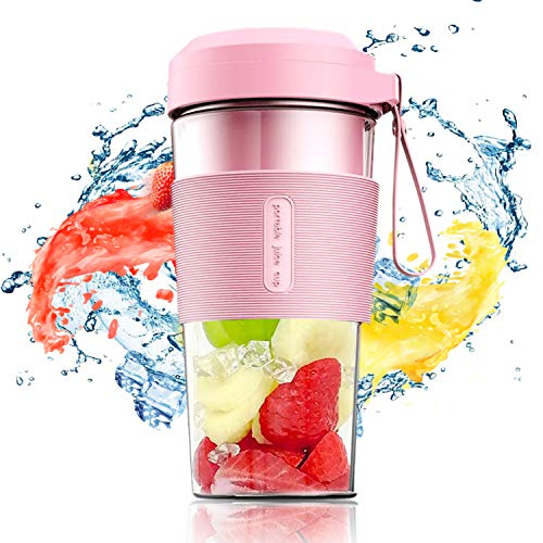 IKK Personal Blender for Shakes and Smoothies, Portable Blenders USB Rechargeable, Smoothie Maker Cup with 6 Blades, Travel Mixer Bottle in Mini Size, for Beach, Sports, Home, Office, and More (Pink)