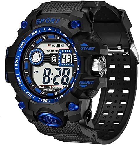 Reloj Deportivo, Reloj Inteligente, Relojes Deportivos a Prueba de Agua de 30m para Hombres, Reloj Deportivo Luminoso para Hombre, Reloj de Pulsera de Calendario de cronómetro 12H / 24H (Negro)