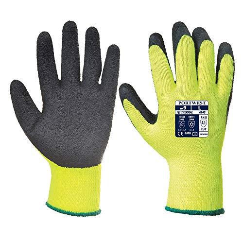 Portwest Thermische Handschoen met Grip, Farbe: Gelb, Größe: XL, A140BKRXL
