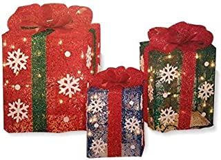 Light Up Gift Boxes, Set of 3 Outdoor Christmas Decorations. 14, 12, and 10 Boxes with Ribbon and Snowflakes. 70 lights attached to frame.