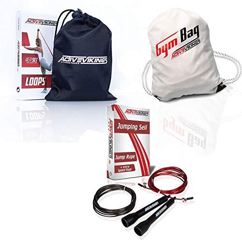 ActiveVikings Premium Fit Pack Bundle - Springseil + 4er Set Loops + Sportbeutel | Ideal für Dein Training im Fitness und Kampfsport Bereich