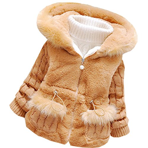 DORAMI Baby Girls Winter Autumn Cotton Warm Cotton Jacket Coat (US Size 2T, Brown)