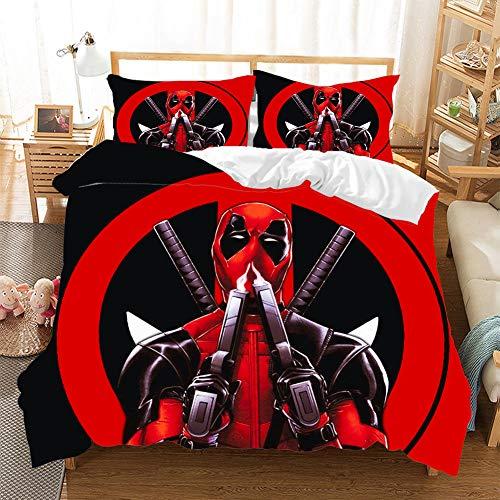 CQLXZ Marvel Hero Deadpool-Juego de cama infantil, diseño de animales, multicolor y multicolor, funda nórdica de microfibra para niños y niñas (altura 135 x 200 cm)