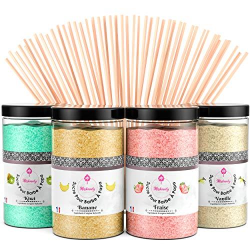 Misskandy, zucchero filato per macchina/lotto da 1,4 kg (4 * 350g) / aromi: fragola, banana, kiwi, vaniglia + 50 bastoncini di (30 cm) (pacchetto rosa)
