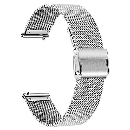 TRUMiRR Ersatz für Garmin Vivomove 3S Frauen Armband, 18mm Mesh Gewebt Edelstahl Uhrenarmband Schnellverschluss Armband Business Ersatzband für Garmin Vivoactive 4S 40mm Smartwatch