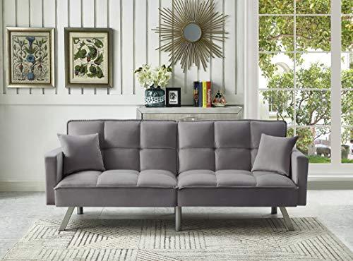 Legend Furniture Comfortable Velvet Sleeper Sofa Bed Sofabed, Grey