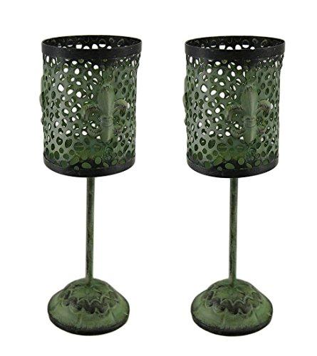 Lot de 2 Vert Finition vintage à pied en métal en forme de fleur de lys bougeoirs
