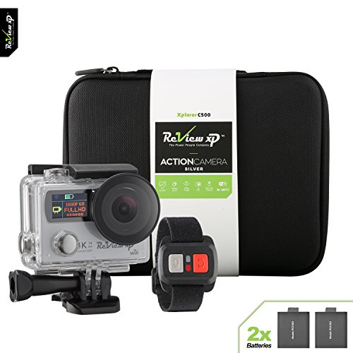 Review XP C500 4K HD Wi-Fi Waterproof Action Camera 14MP 30fps Sports Video Underwater Camcorder 170° Wide Angle Dual Screen 2 Batteries Accessories Kit Carrying Case Remote Control - Silver