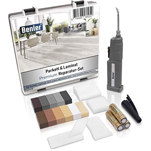 BENLER® NEU! - Holz Reparaturset mit 2in1 Wachsschmelzer für Laminat Parkett und Vinylboden - Holzkitt auch für PVC, Kunststoff und Arbeitsplatte - Hartwachs Grau Reparatur-Set