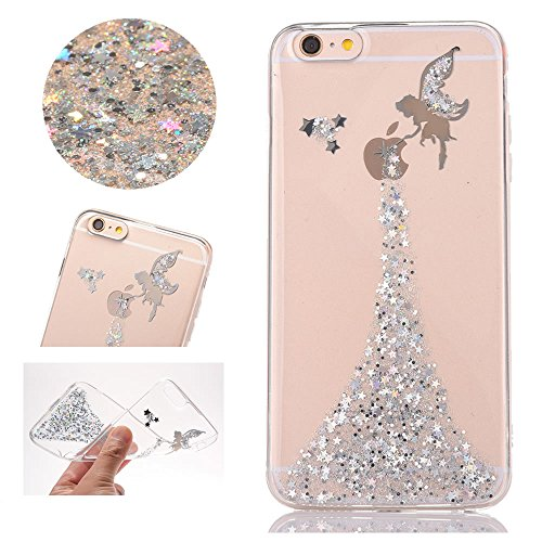 Sycode Custodia per iPhone 6 Plus, Trasparente Glitter Argento Fairy Fata Morbida Silicone TPU Gel Protezione Case Cover per iPhone 6 Plus/6S Plus 5.5'