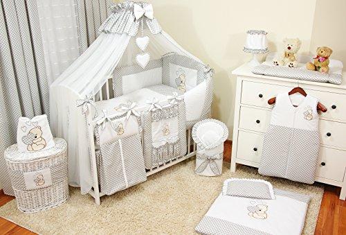 Baby-Bettwaren, Komplettset XL,10-teilig, Bettwäsche, 100 % Baumwolle mit Stickerei + Moskitonetz, mit Teddy/Bär besticktes Motiv, für Mädchen oder Jungen