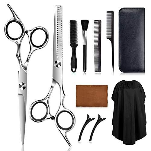 Haarschere Set Friseur Schere Ausdünnen Haarschnitt Modellierschere mit Rasiermesserkamm, Clips, Umhang für Zuhause, Salon