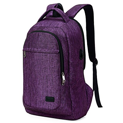 MarsBro Laptop Backpack, Business Travel College Backpack with USB Charging Port Water Resistant Anti Theft 15.6 Inch Bag for Women Men Purple