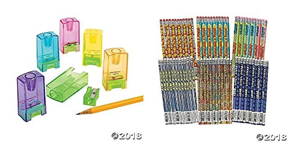 48 Piece Pencil/Crayon Sharpeners and Motivational Pencils~School/Classroom Supplies~Student Incentives