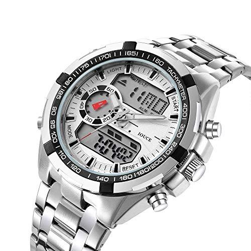 Reloj para hombre, todos los relojes deportivos al aire libre de doble pantalla de acero inoxidable, luminoso, calendario, cronógrafo, simuladores moda ocio militar, relojes de pulsera para hombres