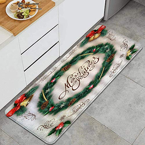 ALLMILL Kitchen rug,Wreath Christmas Circle Garland of Pine Twigs BowKnot Bells Adornment Merry Jolly,Decorative Kitchen floor Mat with Non-Slip Backing