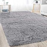 Merelax Modern Soft Fluffy Large Shaggy Rug for Bedroom Livingroom Dorm Kids Room Indoor Home Decorative, Non-Slip Plush Furry Fur Area Rugs Comfy Nursery Accent Floor Carpet 4'x5.9' Grey