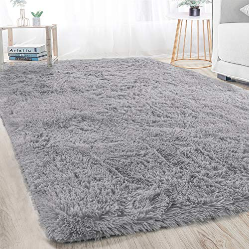 soft rugs for bedrooms Merelax Modern Soft Fluffy Large Shaggy Rug for Bedroom Livingroom Dorm Kids Room Indoor Home Decorative, Non-Slip Plush Furry Fur Area Rugs Comfy Nursery Accent Floor Carpet 4'x5.9' Grey