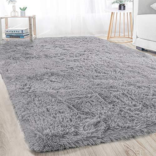 Merelax Decorative Soft Shaggy Area Rug for Livingroom Dorm Bedroom Kids Room, Fluffy Non-Slip Cozy Plush Furry Fur Accent Rugs Rectangle Modern Home Indoor Floor Carpet 4' x 6' Grey