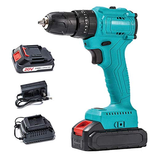 Beautiful happy Brushless 20V Portable Cordless Power Drill Set Impact Screw Driver 18 Torque Setting 35N.m, 1 2000mAh Battery & Charger Included (Color : -, Size : -)