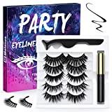 Magnetic Eyelashes and Magnetic Eyeliner Kit, 5 Pairs Reusable Natural Look Magnetic Eyelashes with Eyeliner, Upgraded 3D No Glue Magnetic lashes Kit With Tweezers Inside (Party)