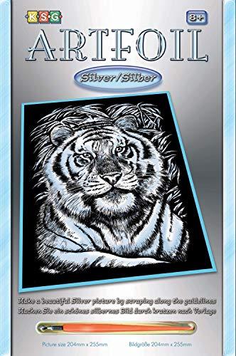 MAMMUT 8251017 - Artfoil, Kratzbild, Tiermotiv, Weißer Tiger, silber, Komplettset mit Kratzbild, Kratzmesser und Anleitung, Scraper, Scratch, glänzend, Kratzset für Kinder ab 8 Jahre