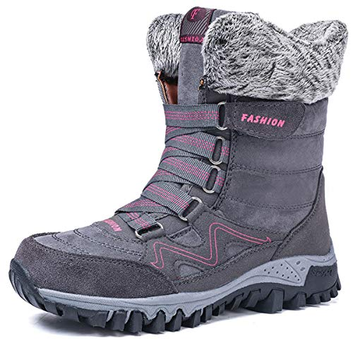 AARDIMI Warm Gefüttert Winterschuhe Damen Schneestiefel Wasserdicht Outdoor Trekking Wanderschuhe Gr. 35-42 (Grau, 39 EU)*