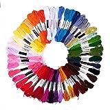 Pajoma - Set filato da ricamo, in poliestere, multicolore, 74 pezzi; perfetto per braccialetti dell'amicizia, ricamo, punto croce, accessori