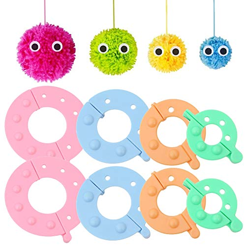 8 pcs Pom Pom Maker, Fluff Ball Weaver Needle PomPom Maker Juegos-DIY Pompoms Artesanía Doll haciendo Kits-Hilado de lana Knitting Craft Tool Set Fabricante para niños y adultos