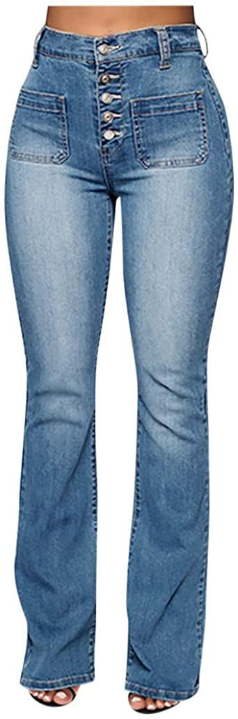 WUAI-Women Juniors Bell Bottom High Waist Stretch Fitted Wide Leg Bootcut Denim Flare Jeans Plus Size