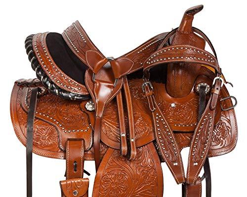 Deen, Enterprises - Silla de montar de piel para caballos de carreras de occidente para adulto, cabeza de piel a juego, cuello de pecho, riendas tamaño 35,56 cm a 45,72 cm asiento disponible