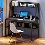 【US-Stock】 Gaming Desk,Computer Desk with Hutch and Bookshelf, 47 Inches Home Office Desk Space Saving Design for Small Spaces, Writing Study Laptop Table with Storage Shelves, Modern Corner Desk