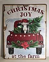 ファームでのクリスマスの喜びヴィンテージスタイルのメタルサイン屋内と屋外のホームバーの鉄の絵コーヒーキッチンの壁の装飾8X12インチ