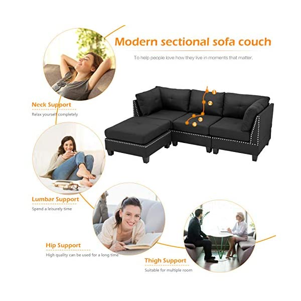 Esright Convertible Sectional Sofa Couch with Ottoman 4