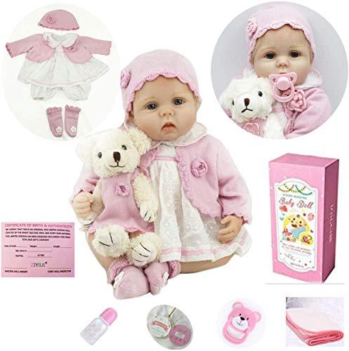 ZIYIUI Muñeca Realista Renacentista Muñeca Reborn Niña 22 Pulgadas 55 cm Realista Bebé Reborn Doll Silicona Suave Muñeca de Vinilo Bebé Ojos Azules