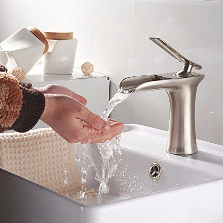 Lalaky Waschtischarmaturen Wasserhahn Waschbecken Spültisch Küchenarmatur Spültischarmatur Spülbecken Mischbatterie Waschtischarmatur Retro Kupfer Gebürsteter Wasserfall