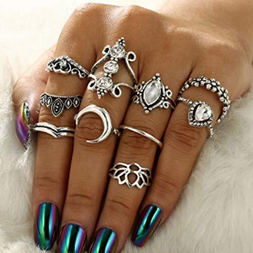 Flrora Boho Crystal Flower Joint Knöchelring Set Silber Mond geschnitzte Fingerringe Stilvolle Wassertropfen Stapelbare Ringe für Frauen und Mädchen (10er Pack)