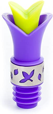 Flower Wine Bottle Stopper - Tulip Shaped Silicone Wine Stopper and Pourer - Violet