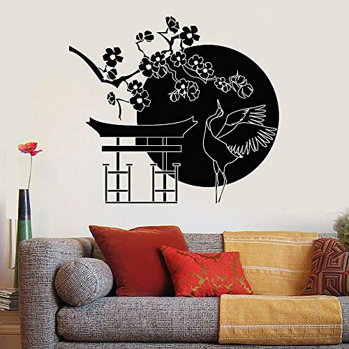 WERWN Etiqueta de la Pared de Rama de árbol de Flores pájaro japonés cigüeña Arte Puerta y Ventana Pegatina de Vinilo Sala de Estar Restaurante japonés decoración de Interiores