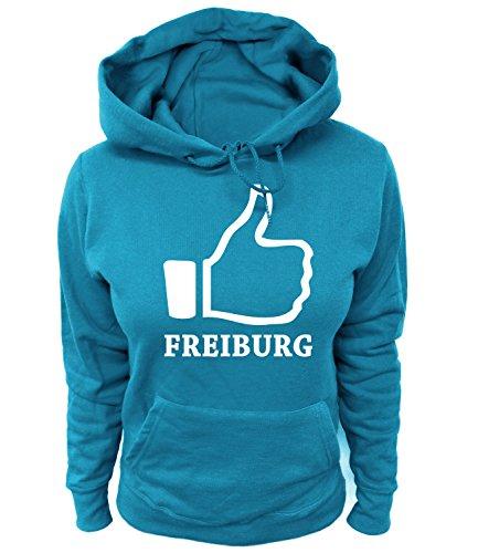 Artdiktat Damen Hoodie - I like Freiburg , Größe XL, blau