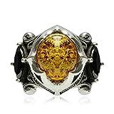 Beydodo 925 Sterling Silber Ring für Herren Bernstein mit Zirkonia Partnerringe Silber Ringe Gr.62 (19.7)