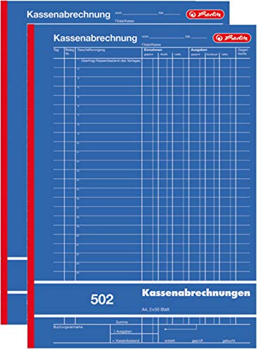 Herlitz 882415 Kassenabrechnungsbuch 502, Karton, A4, 2x50 Blatt blau (2)
