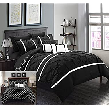 Chic Home CS1017-AN Dorothy 10 Piece Pinch Pleated Ruffled and Reversible Geometric Design Printed Bed in A Bag Comforter Set with Sheet Set, King, Black