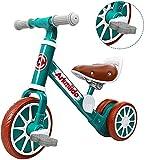Bicicleta de Equilibrio para niños 2 en 1 con Pedales Desmontables, Triciclo para niños pequeños, Bicicleta para niños de 2 a 4 años Que Caminan en Interiores al Aire Libre (Verde)