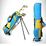 Mitrc Junior Complete Golf Club Set, Set de iniciación de Palos de Golf para niños Bolso Bandolera, Putter de aleación de Zinc 3-12 Grupos de Edad Boys & Girls,Yellow,6 * 8yearold