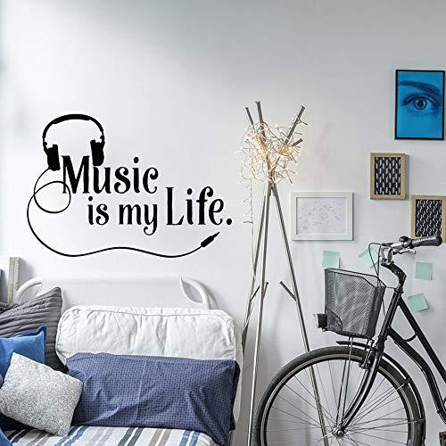 Etiqueta de la pared de la música La música es mi vida Etiqueta de la pared Cita Niños Adolescentes Habitación Rock Decoración Regalo de amante de la música Decoración del hogar A9 81x57cm
