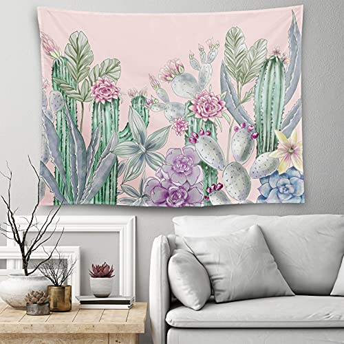Cactus Tapestries Wall Hangings Cactus Watercolor Landscape Tapestry Dark Pink Succulent Wall Tapestry For Bedroom Living Room Decor 60 X 50 Inches
