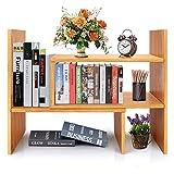 Bamboo Desk Storage Organizer, Desktop Display Shelf Rack, Multipurpose <span class='highlight'>Bookshelf</span> for Office & Home, Expandable Desktop Stand <span class='highlight'>Bookshelf</span>, Office Storage Rack - Free Style Displa Natural Stand Shelf.