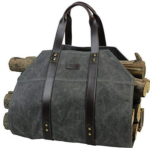 Log Carrier|Waxed Canvas Log Holder|Firewood Carrier Tote Bag|Fireplace...